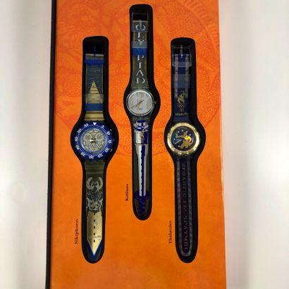 SWATCH  Vers 1990.  Réf: SZ901.  Coffret de neuf montres bracelet édition limitée...