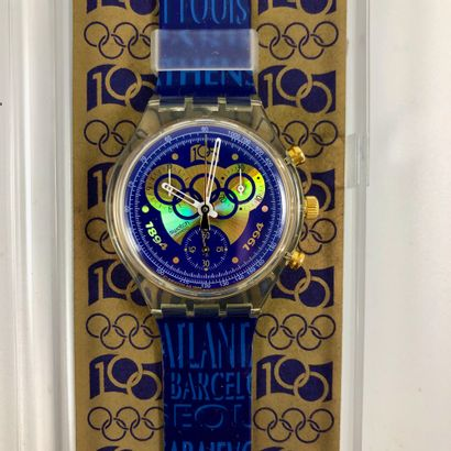 "SWATCH  Vers 1994.  Réf: SCZ101.  Montre bracelet type chronographe modèle ""100..."