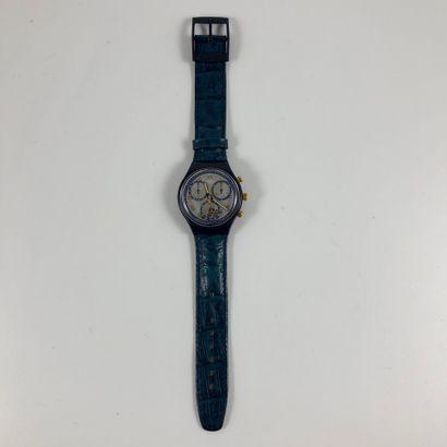 "SWATCH  Vers 1991.  Montre bracelet type chronographe modèle ""Timeless Zone"".  Mouvement..."