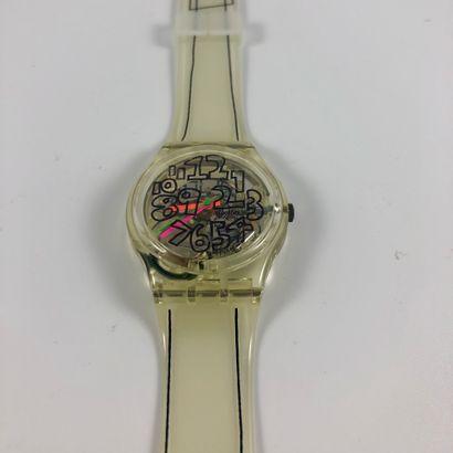 "SWATCH  Vers 1993.  Réf: GZ124.  Montre bracelet modèle ""Scribble - Noel 1993 -..."