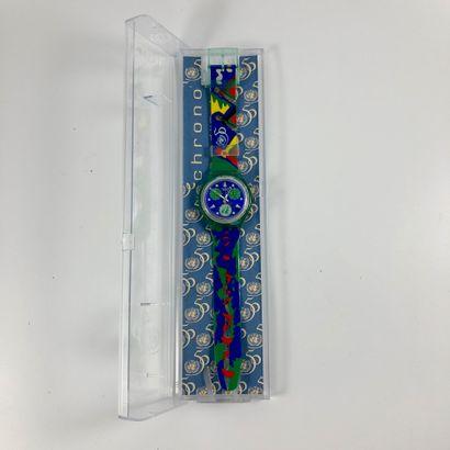 """SWATCH  Vers 1995.  Réf: SCZ103.  Montre bracelet type chronographe modèle """"UN Limited..."""