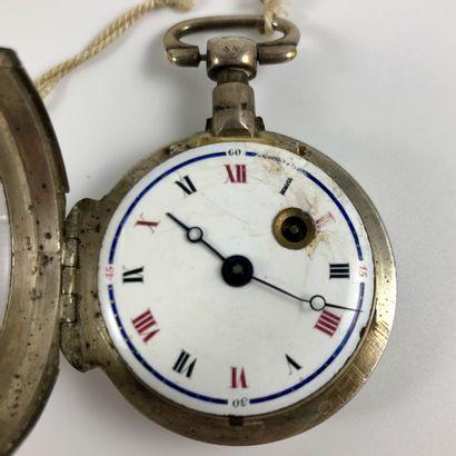 Montre de gousset coq avec sa clef  XVIII/XIXe siècle  Boite en argent, mouvement...