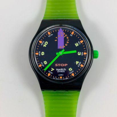 """SWATCH  Vers 1992.  Réf: SSB100.  Montre bracelet type stop watch modèle """"Jess Rush""""...."""