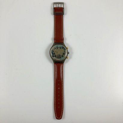 "SWATCH  Vers 1993.  Réf: SCM102.  Montre bracelet type chronographe modèle ""Jet..."