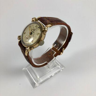 BENRUS  Vers 1940.  Réf : 236491  Montre bracelet plaqué or 10K double quantième,...