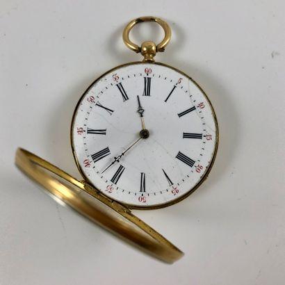 Montre de gousset en or  Vers 1880.  Boite en or jaune 750/1000, mouvement mécanique...