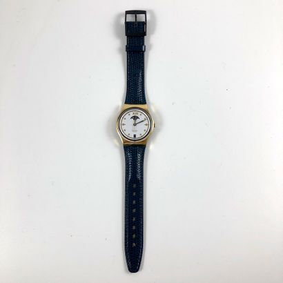 """SWATCH Vers 1990. Réf: GX709. Montre bracelet modèle """"C.E.O. - Swatch Lune"""". Mouvement..."""