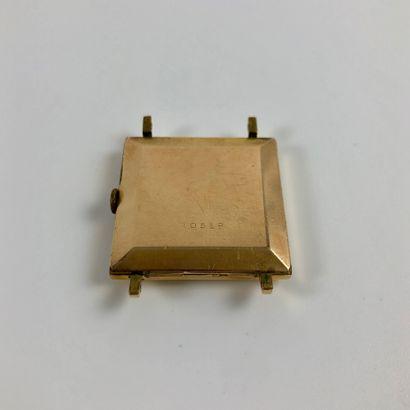 ELIX INCABLOC. Montre carrée, boitier plaqué or. Index bâtons. Mouvement mécanique...
