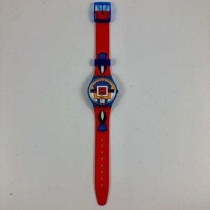 """SWATCH Vers 1993. Réf: GN129. Montre bracelet modèle """"Paella"""". Mouvement quartz...."""