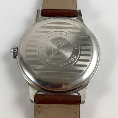 VOSTOK  K-43  Montre bracelet en acier, boîtier rond en acier, cadran blanc, bracelet...