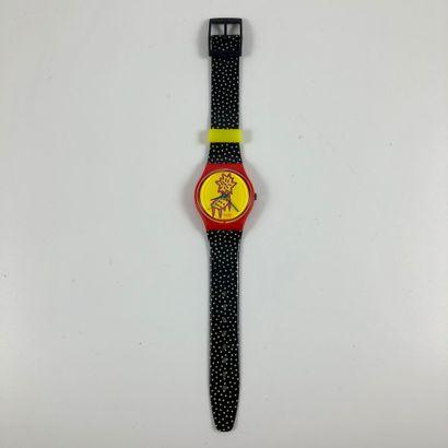 """SWATCH Vers 1993. Réf: GR115. Montre bracelet modèle """"Dotchair"""". Mouvement quartz...."""