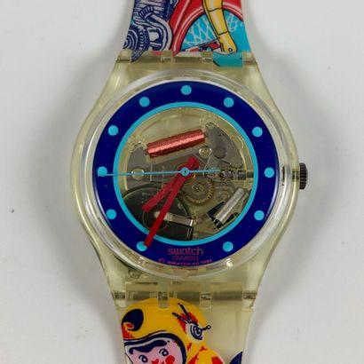 """SWATCH Vers 1990. Réf: GK155. Montre bracelet modèle """"Tin Toy"""". Mouvement quartz...."""