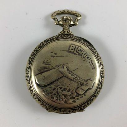 BLERIOT. VERS 1910. Montre de gousset. Boitier en métal argenté. Gravure au dos...