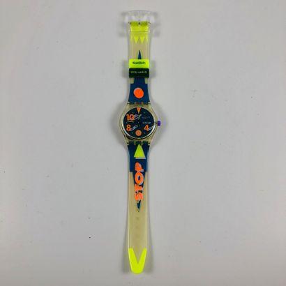 """SWATCH  Vers 1993.  Réf: SSK102.  Montre bracelet type stop watch modèle """"Movimento""""...."""