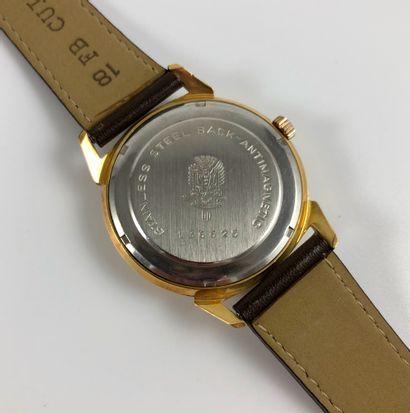 LIP Incabloc NOS Vers 1970. Réf: 136XXXX. Montre bracelet en plaqué or jaune, cadran...