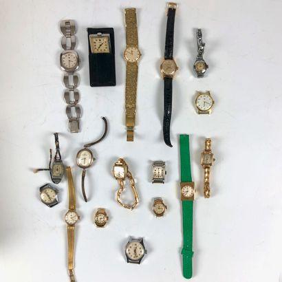 Lot de montres pour dame, semblent fonctionner : Lip, Longines, Certina, Enicar,...