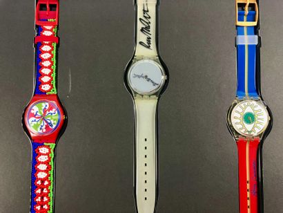 SWATCH  Vers 1990.  Réf: GZ806.  Coffret de trois montres bracelet édition limitée...
