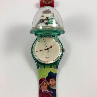 """SWATCH  Vers 1995.  Réf: GZ148.  Montre bracelet modèle """"Christmas 1995"""".  Mouvement..."""
