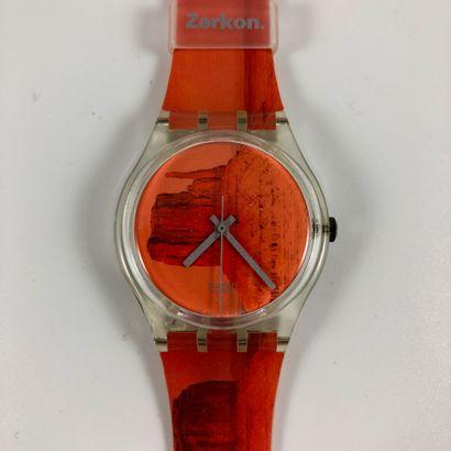 """SWATCH  Vers 1990.  Réf: GK240.  Montre bracelet modèle """"Zerkon"""".  Mouvement quartz...."""