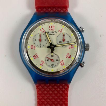 "SWATCH  Vers 1992.  Réf: SCN103.  Montre bracelet type chronographe modèle ""John..."