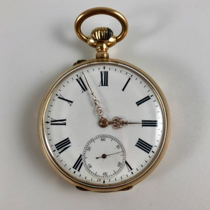 Gousset Anonyme Vers 1860. Montre de gousset en or jaune750/1000, boitier rond,...