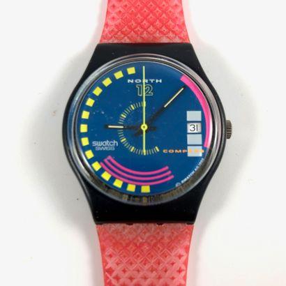 """SWATCH Vers 1990. Réf: GB412. Montre bracelet modèle """"Traffic Jam"""". Mouvement quartz...."""