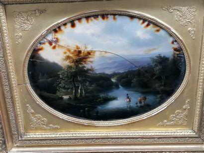 Honorine LAJOYE (XIX)  Fixé sous verre de...
