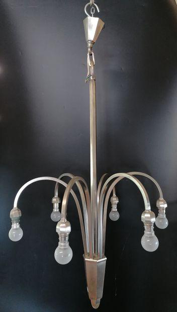 LUSTRE moderne  En métal  A six bras de lumières...