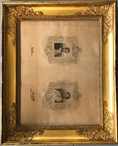 GRAVURE ENCADREE  Portrait de Napoléon et...