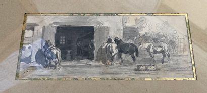 Jules VEYRASSAT (1828-1893) Chevaux à l'abreuvoir...