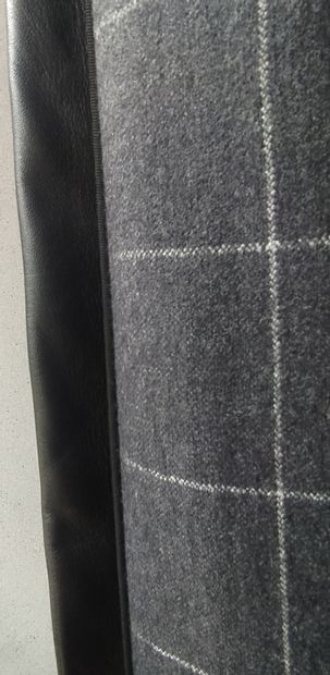 ANDREW MARTIN COLLECTION Pair of flannel curtains with red double taffeta checks,...