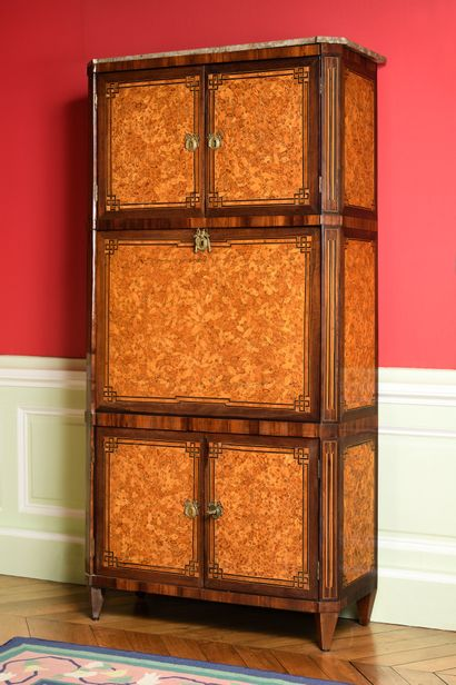 """A """"sash"""" SECRETARY made of cypress veneer, rosewood and amaranth in fillet and Greek..."""