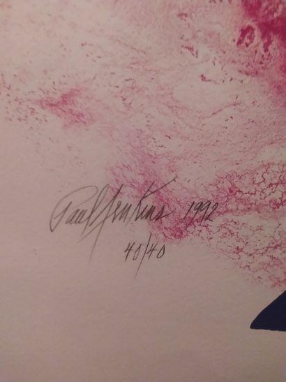 PAUL JENKINS (1923-2012) Deux lithographies formant pendant Signées et datées 1992...