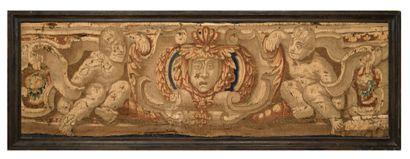 FLANDRES Fragment de tapisserie en laine...