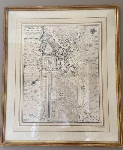 DEUX GRAVURES Plan de l'Ermitage Pompadour et Château de Fontainebleau. Fontainebleau...