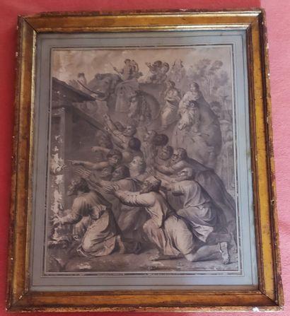 ECOLE FRANCAISE du XVIIIème siècle. L'adoration...