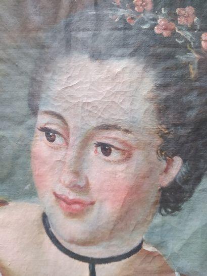 Dans le goût du XVIIIème siècle Buste de jeune fille de trois-quarts Aquarelle sur...