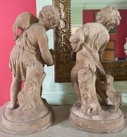 Adam SIGISBERT (1700-1759) d'après Enfant jouant avec deux chiens et enfant au chat...