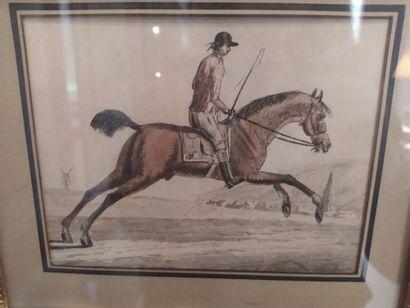 ECOLE FRANCAISE vers 1800 Cavalier. Plume et encre de chine, aquarelle. Porte une...