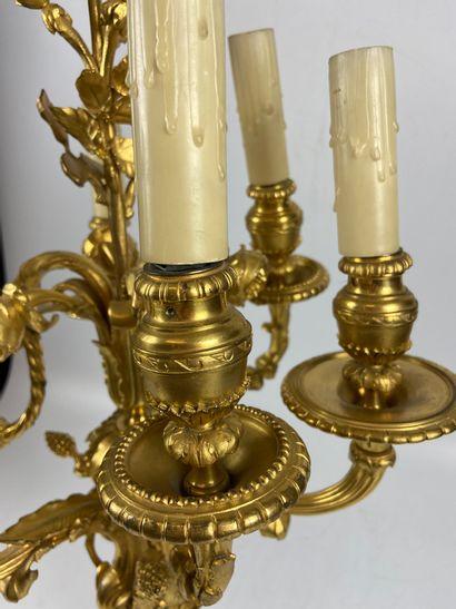 Importante PAIRE DE CANDELABRES en bronze doré et ciselé à six bras de lumières...