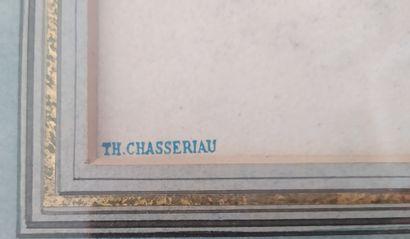 Théodore CHASSERIAU (1819-1856) Tête de femme de trois-quart Mine de plomb et craie...