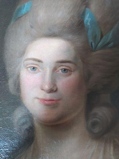 Ecole FRANCAISE vers 1780, entourage de Johann HEINSIUS Portrait de femme au nœud...