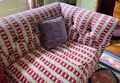 Christian BADIN (1930-2019) Paire de canapés confortables recouverts de tissu éditeur...