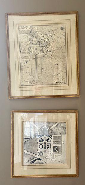 DEUX GRAVURES Plan de l'Ermitage Pompadour...