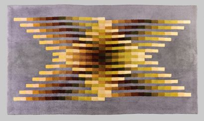 JULIO LE PARC (ARG/ BORN IN 1928) WOOL CARPET RANGES, ON THE REVERSE, A LABEL WITH...