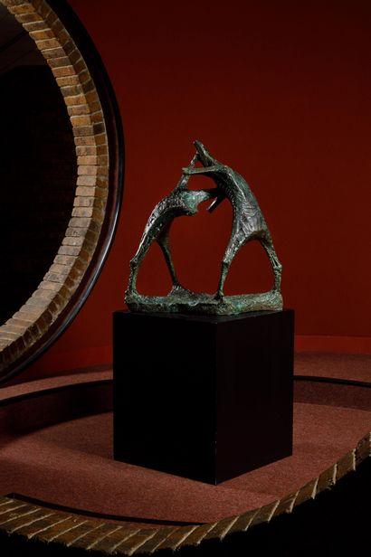 FRANCESCO MARINO DI TEANA (ITA-FRA/ 1920-2012) Le grand combat des loups bronze...