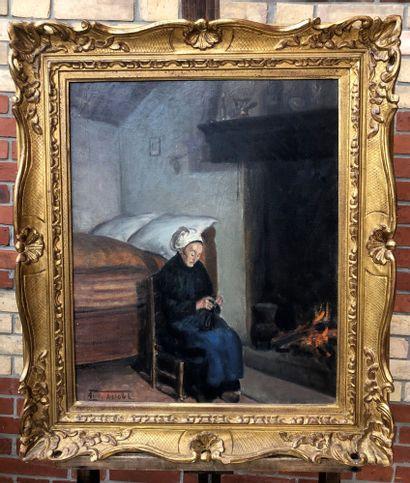 André ASTOUL (1886-1950) Femme tricotant...