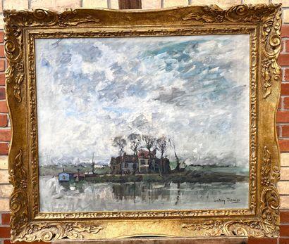 Antony DAMIEN (1858-1943) Maisons au bord...