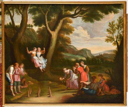 ECOLE FRANCAISE DU XVIIIème siècle suiveur de Claudine BOUZONNET-STELLA Le jeu des...