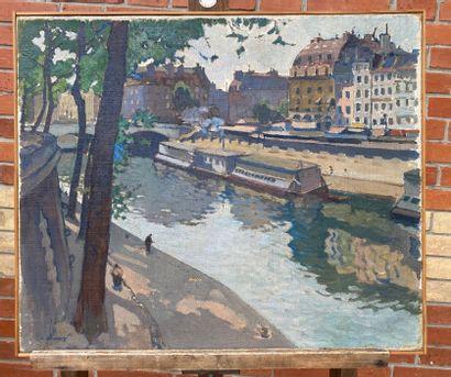 Léon CAUVY (1874-1933) Les quais Huile sur...